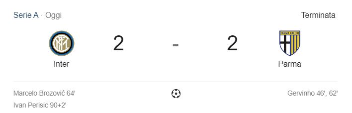 Il risultato di Inter-Parma